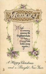 A HAPPY CHRISTMAS AND A BRIGHT NEW YEAR  verse, violets