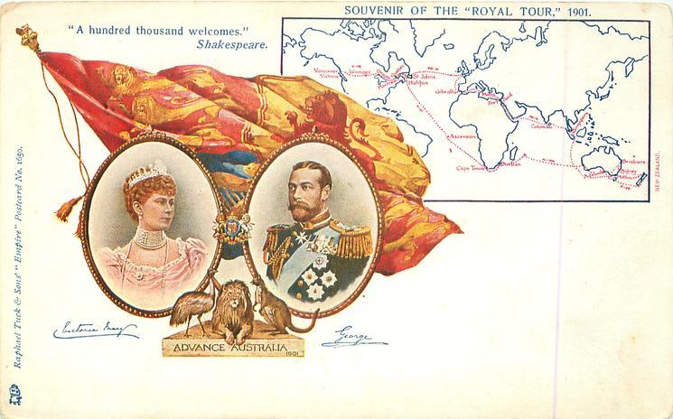 ADVANCE AUSTRALIA  SOUVENIR OF THE ROYAL TOUR 1901, with map