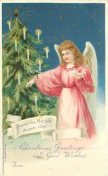 HARK! THE HERALD ANGELS SING!  angel in pink dress & Xmas tree
