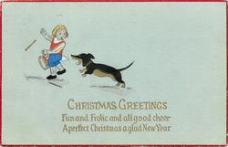 CHRISTMAS GREETINGS  dachshund startles boy with drum