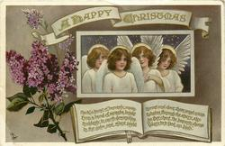 A HAPPY CHRISTMAS  4 angels, lilac left, book below