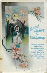 GOOD WISHES FOR CHRISTMAS  girl in orchard of blossom