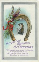 FORTUNE AND HAPPINESS FOR CHRISTMAS  girl, horseshoe, heather