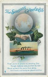 THE SEASON'S GREETINGS  clasped hands, ship, ivy