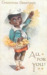 CHRISTMAS GREETINGS  black boy waves carrying basket of daisies