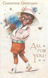 CHRISTMAS GREETINGS  black boy, afraid of a bee, carries armful of cornflowers