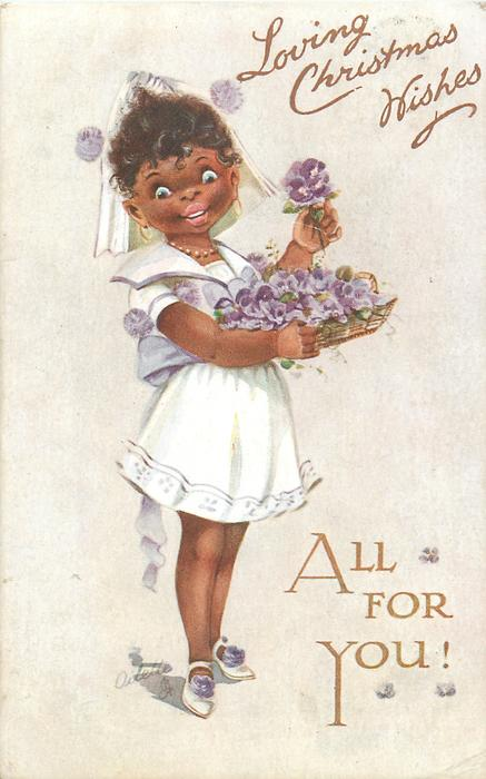 LOVING CHRISTMAS WISHES  black girl in white carrying basket of pansies