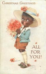 CHRISTMAS GREETINGS  black boy carrying red poppies