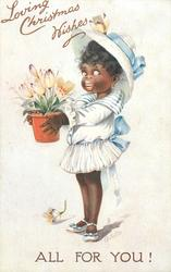LOVING CHRISTMAS WISHES  black girl in white carrying bowl of tulips