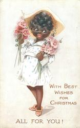 WITH BEST WISHES FOR CHRISTMAS  black girl in white carrying hollyhocks
