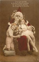 I LOVE YOU  ... Santa seated in chair, boy on his right & girl on his lap