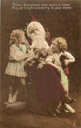 Santa seated in chair, boy & girl on either side, Santa holds trumpet