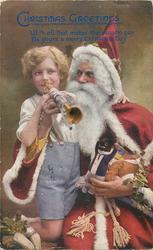 Santa helps boy play trumpet, golly