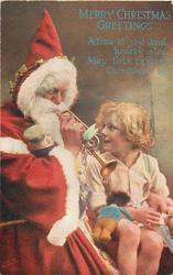 Santa plays trumpet to boy, golly