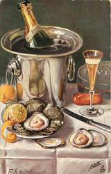 champagne in ice bucket, in front is dish of oysters with two open, glass of champagne is poured