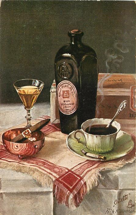 liquor bottle in front of a cigar box, drink, cigar in ashtray and cup of coffee with cigarette in saucer