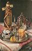 liquor bottle sitting beside silver coffee pot, silver plate holds a drink, lemon, sugar bowl, creamer