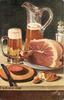 pitcher of beer alongside a glass of beer, ham  on a plate, piece of salami on a boardwith a knife