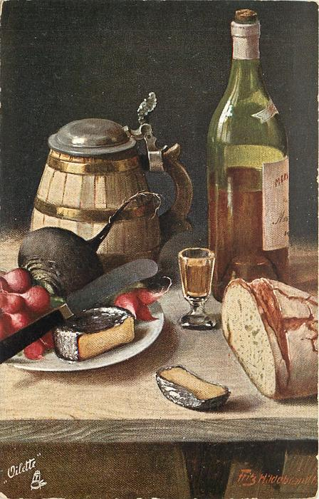 wine bottle to right of pewter topped tankard, plate of radish, beet & cheese with knife, small glass, bread to right