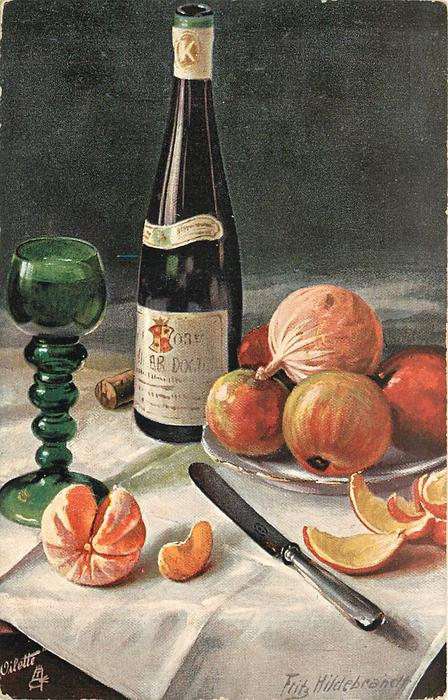 wine bottle, butter knife, glass, five fruit on plate, cork behind bottle, orange peeled