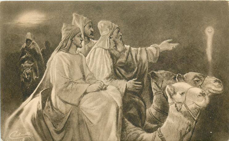 A PEACEFUL HAPPY CHRISTMAS (on back of card)  Three Wise Men on camels, one pointing to star