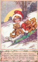 girl & 3 teddies toboggan downhill
