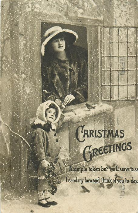 CHRISTMAS GREETINGS  girl left below window, mother above