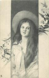 panel inset girl with long hair hanging down her left front, wearing a wide brimmed hat faces front, camelias on side panels