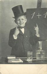 boy dressed in long coat and top hat with glasses, points up with both index fingers, 1+1 on blackboard