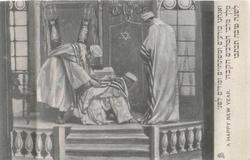 three rabbis on platform, one on hands & knees, another bows over him, another stands right with head bowed, much symbolism
