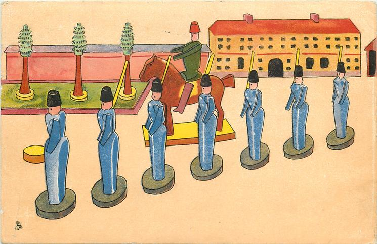 seven wooden soldiers in blue, in front of horseman, trees & building behind