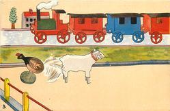 wooden train behind, wooden lamb & chicken in front