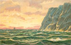 sea scene, cliffs right, sailing ship on horizon left