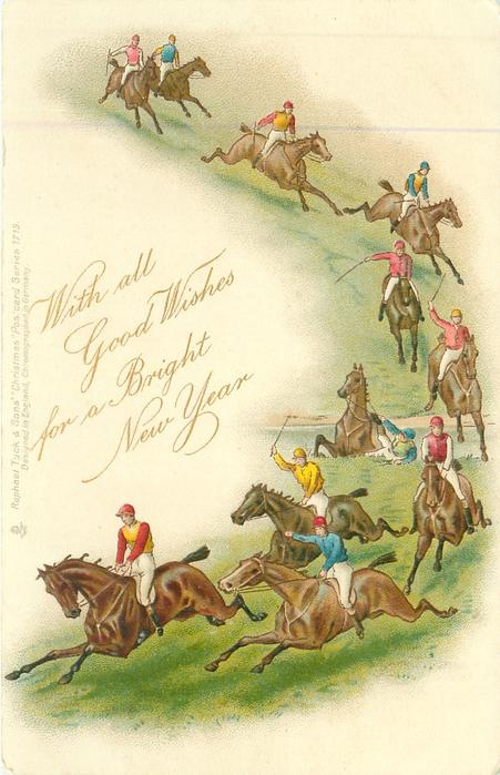 WITH ALL GOOD WISHES FOR A BRIGHT NEW YEAR  steeplechase down right side of card, one jockey off in water