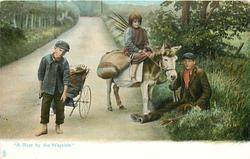 """A REST BY THE WAYSIDE.""  donkey & gypsies"