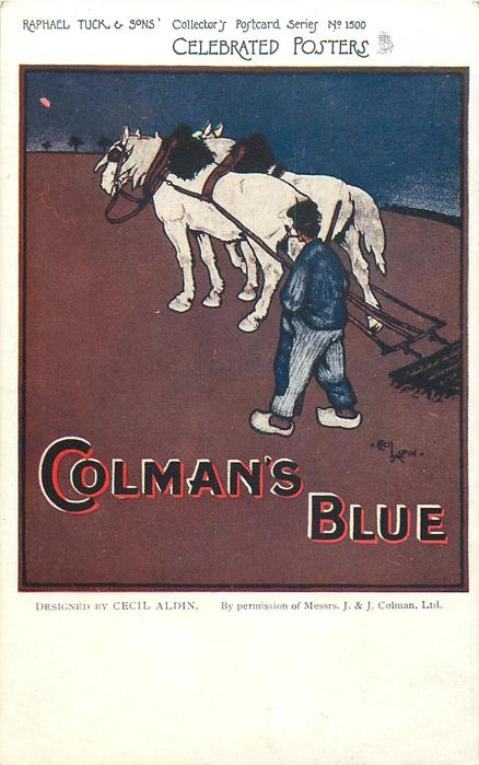 COLMAN'S BLUE  cultivating, horse drawn