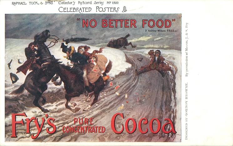 """FRY'S PURE CONCENTRATED COCOA, """"NO BETTER FOOD""""  riders collide"""