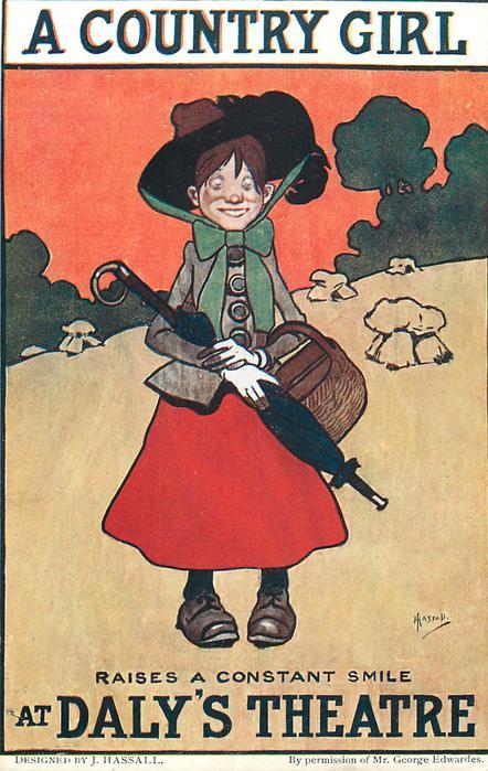 A COUNTRY GIRL RAISES A CONSTANT SMILE AT DALY'S THEATRE  girl with umbrella & handbag