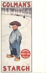 COLMAN'S STARCH  Dutch boy in clogs, smoking pipe