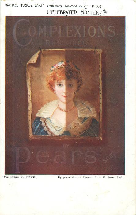 COMPLEXIONS RESTORED BY PEARS SOAP  picture of girl half dull, half bright