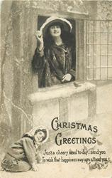 CHRISTMAS GREETINGS  girl hides below window, mother with snowball