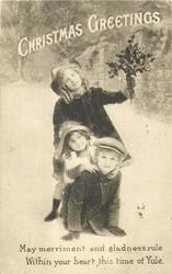 CHRISTMAS GREETINGS  boy & two girls, on girl hold a bunch of flowers, boy kneels