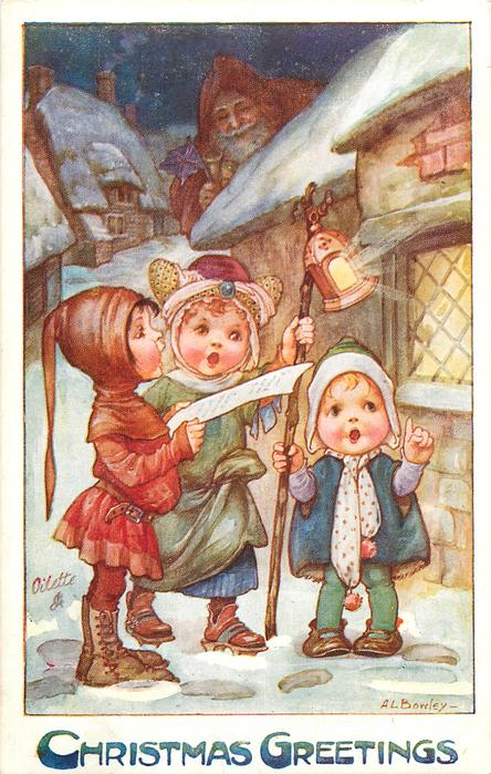 CHRISTMAS GREETINGS  three children sing carols