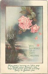 WITH BEST WISHES FOR A HAPPY CHRISTMAS  willow, roses