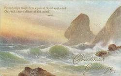 CHRISTMAS GREETINGS  waves, rocks, distant gulls