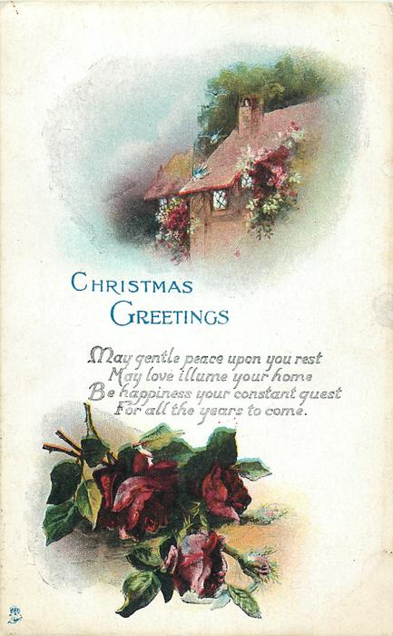 CHRISTMAS GREETINGS  2 insets cottage above red roses below