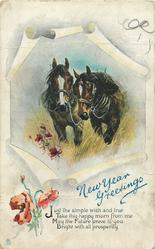 NEW YEAR GREETINGS  2 harnessed horses move front