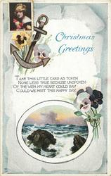CHRISTMAS GREETINGS  seascape, anchor, pansies