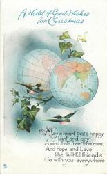 A WORLD OF GOOD WISHES FOR CHRISTMAS  2 globes, 2 birds, ivy