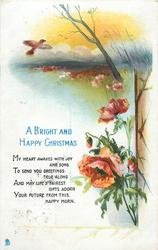 A BRIGHT AND HAPPY CHRISTMAS  poppies, bird